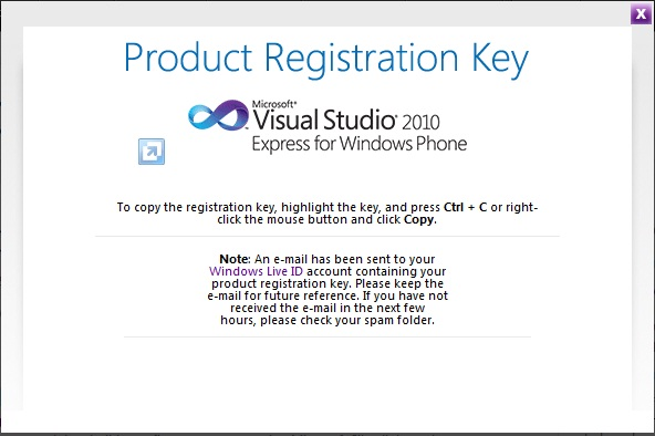 Registration Key For Visual Studio 2010 Express Edition For Windows.