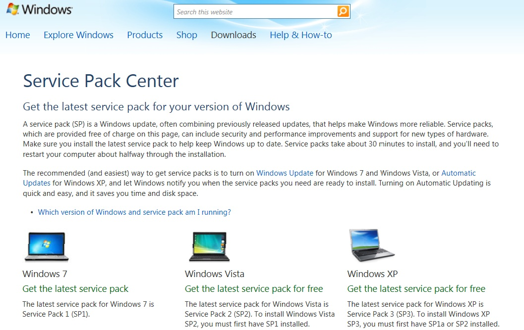 service pack center for Windows Operating System