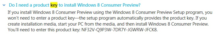 Windows 8 Consumer Preview license or Serial key