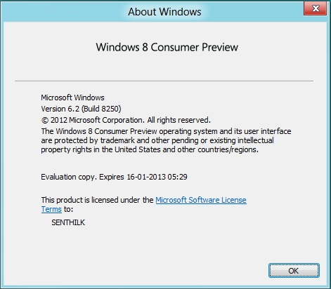 When does Windows 8 Consumer Preview Expires ?