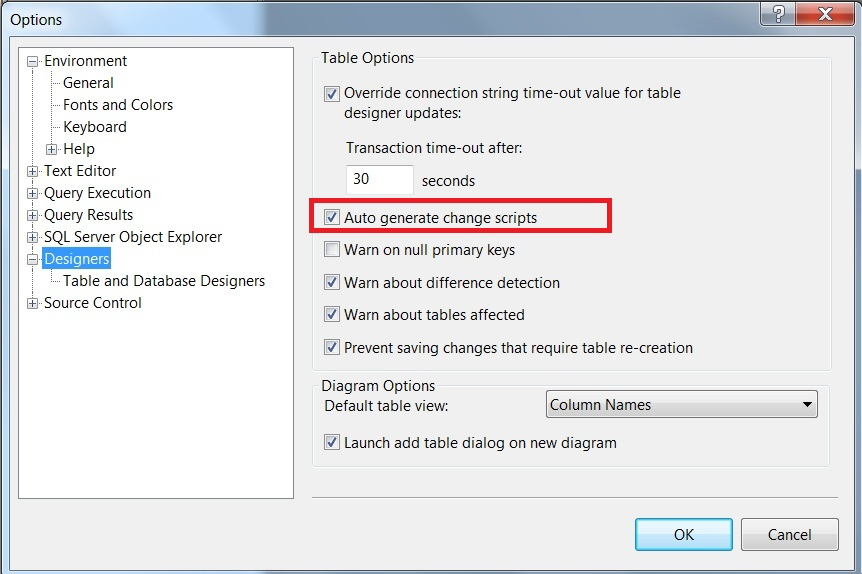 Auto generate change scripts in SQL Server Management Studio - 2