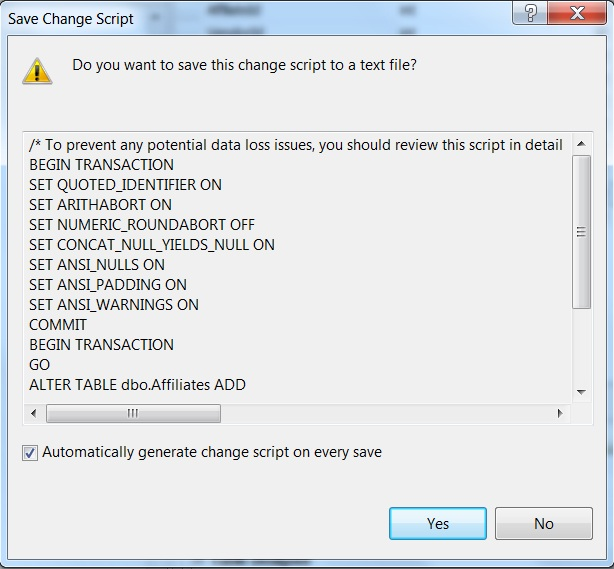 Auto generate change scripts in SQL Server Management Studio - 3