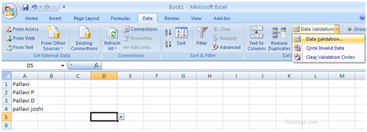How to add Dropdown list in Microsoft Excel 2007 ?
