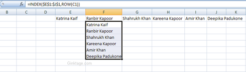 How to turn columns into rows in Microsoft Excel 2007?