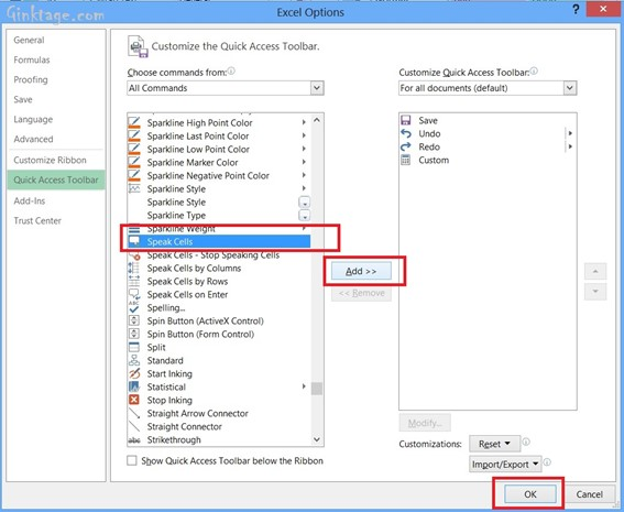 Converting text to speech with Speak Cells in Microsoft Excel 2013