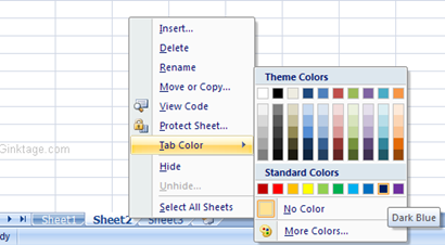 How to Change the Worksheet tab color in Microsoft Excel 2007?