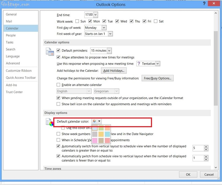 How to Change the default Calendar Color in Microsoft Outlook 2013?