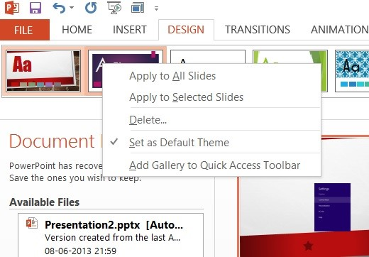 How to Change the Slide Size and Set as Default in Microsoft PowerPoint 2013?