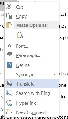 How to translate Text to Different Languages in Microsoft Word 2013?
