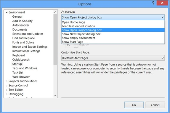 Visual Studio 2012 Tips and Tricks – Show Open Project Dialog on Start Up
