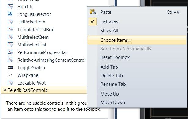 Telerik RadControls for Windows Phone – Article #2 - How to add controls to Visual Studio 2010 toolbox ?