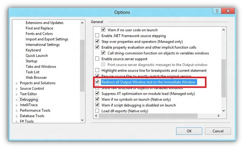 How to Redirect the Output Window text to Immediate Window in Visual Studio?