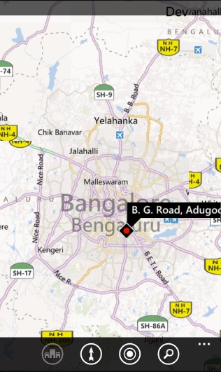 How to search for a Location with Coordinates on Bing Map in Windows Phone ?
