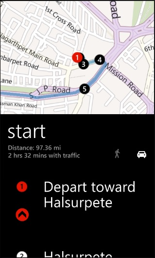 How to get Driving Directions in Windows Phone ?