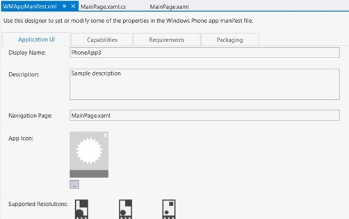 Windows Phone 8 SDK Feature - Graphical Manifest Designer
