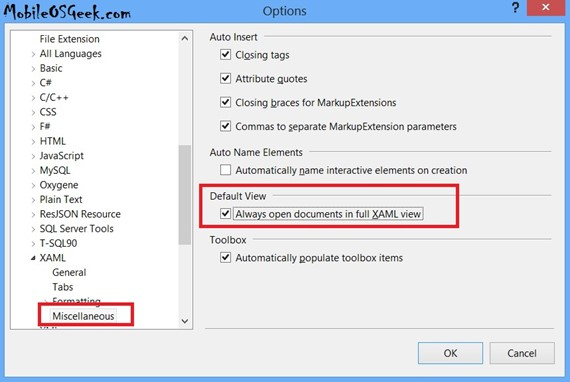 How to Prevent the XAML Design View to Automatically Load in Visual Studio 2012?
