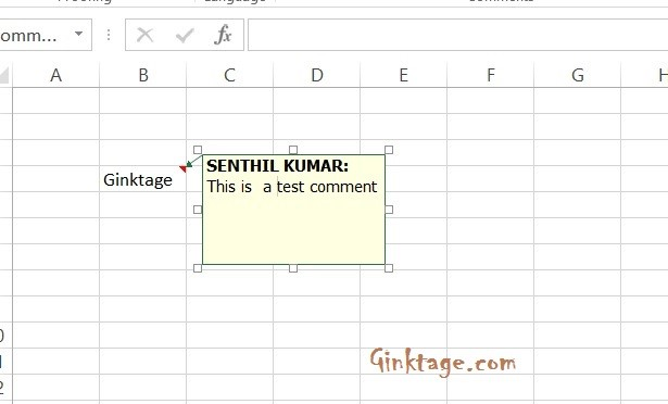 insert comment in excel