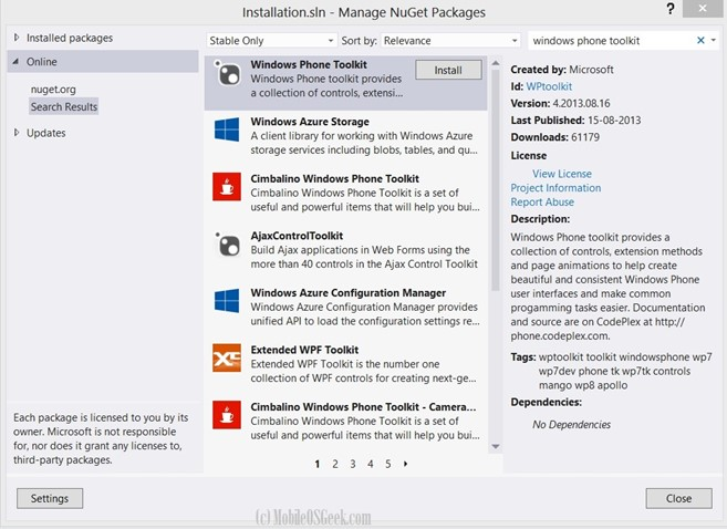 How to Install Windows Phone Toolkit using NuGet Package Manager Designer?