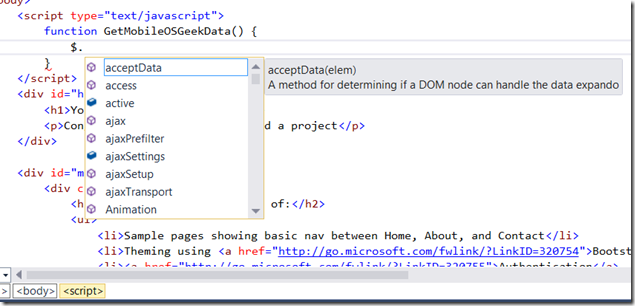 Visual Studio 2013 Tips and Tricks - JavaScript Editor enhancements