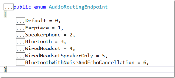 How to detect the audio endpoint device in Windows Phone 8 App ?