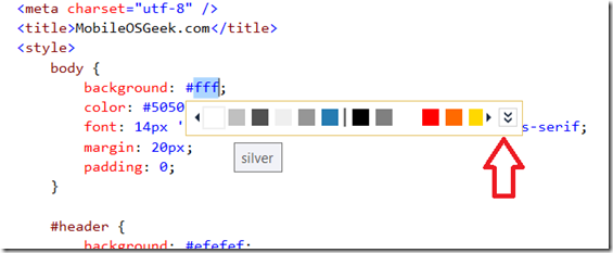 Visual Studio 2013 Tips & Tricks - CSS Editor Color Picker