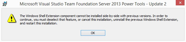 How to fix the TFS Power Tools 2013 error: No Side-by-side Installation with Previous Version?