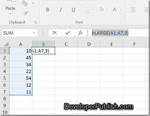 How to find the Nth Largest Numbers from a List of values in Excel ?