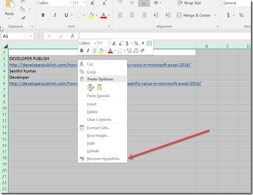 How to quickly delete all hyperlinks from a worksheet in Microsoft Excel 2016 ?