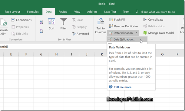 insert drop down list in Excel 2016