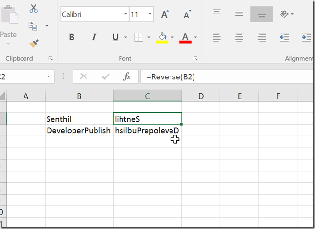 How to Reverse a string in Microsoft Excel ?