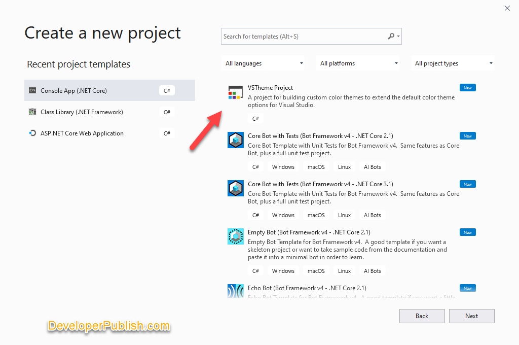 New Themes Project in Visual Studio 2019