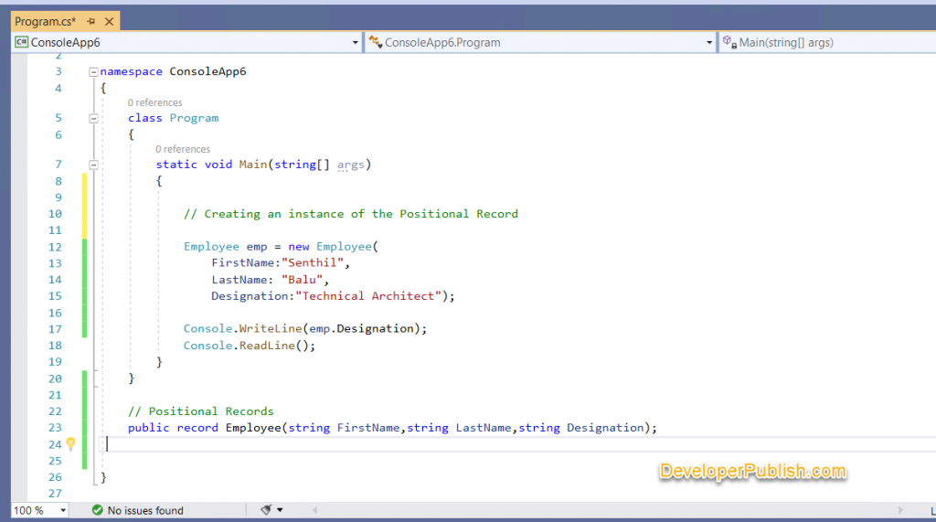 Records in C# 9.0 ->  Exploring C# 9.0 Step by Step