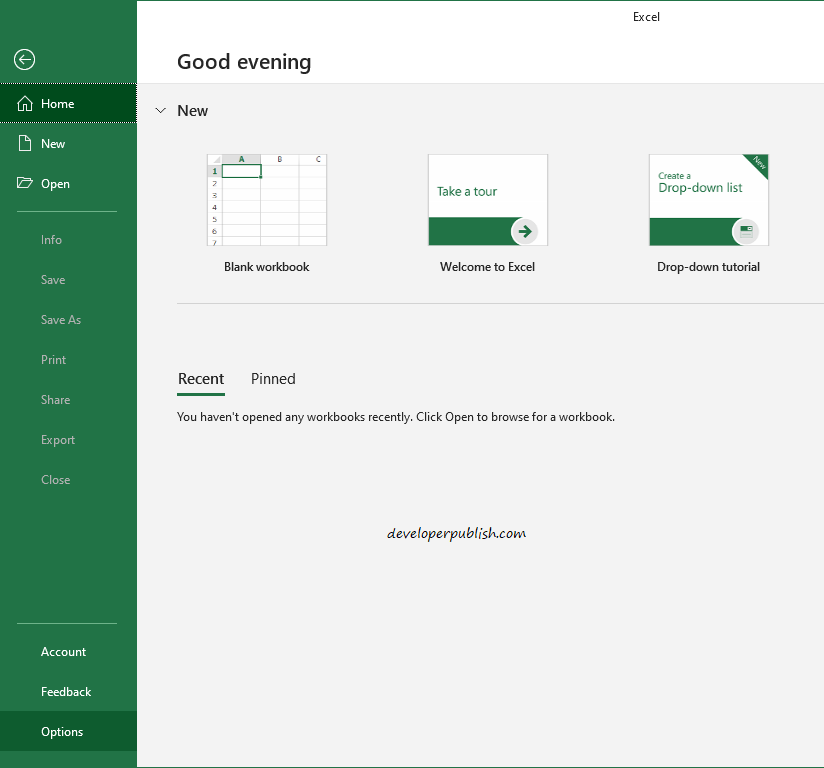 How to turn off the start screen in Microsoft Excel?