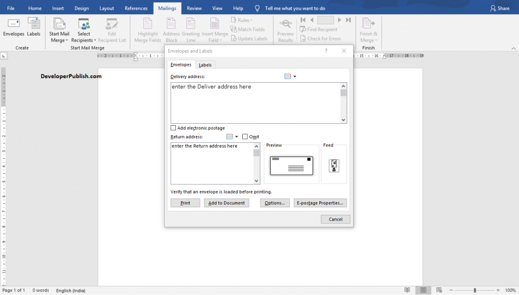 How to Print an Envelope in Word?