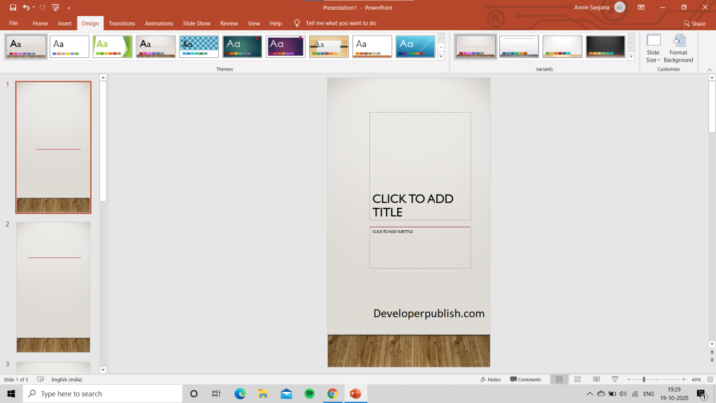 How to Change the page orientation in PowerPoint ?