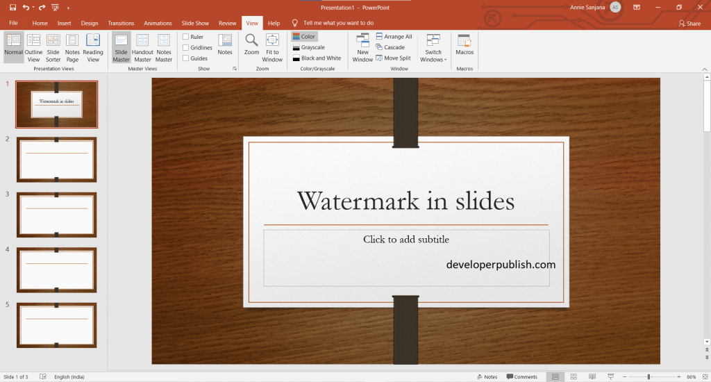 How to add watermark to the background of slides ?