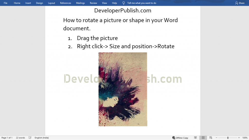 How to Rotate a Picture or Shape in Word?