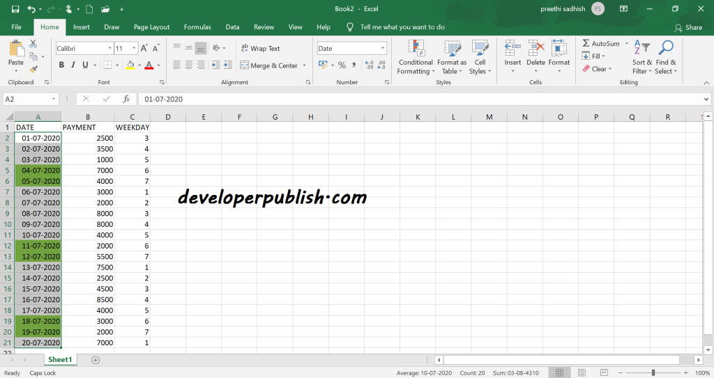 Check for Weekend in Microsoft Excel