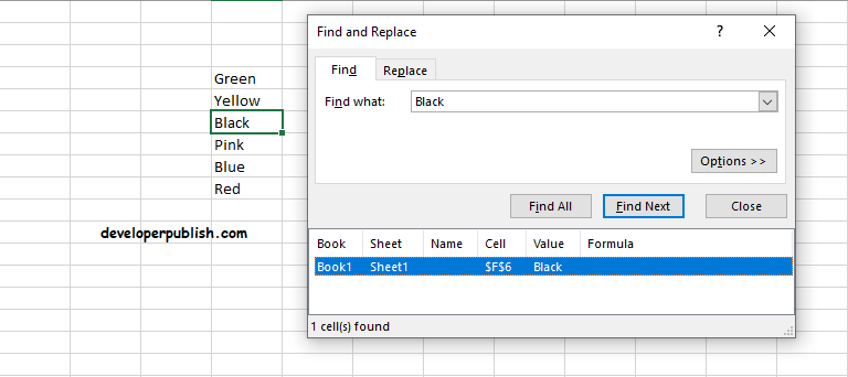 Find and Select in Excel