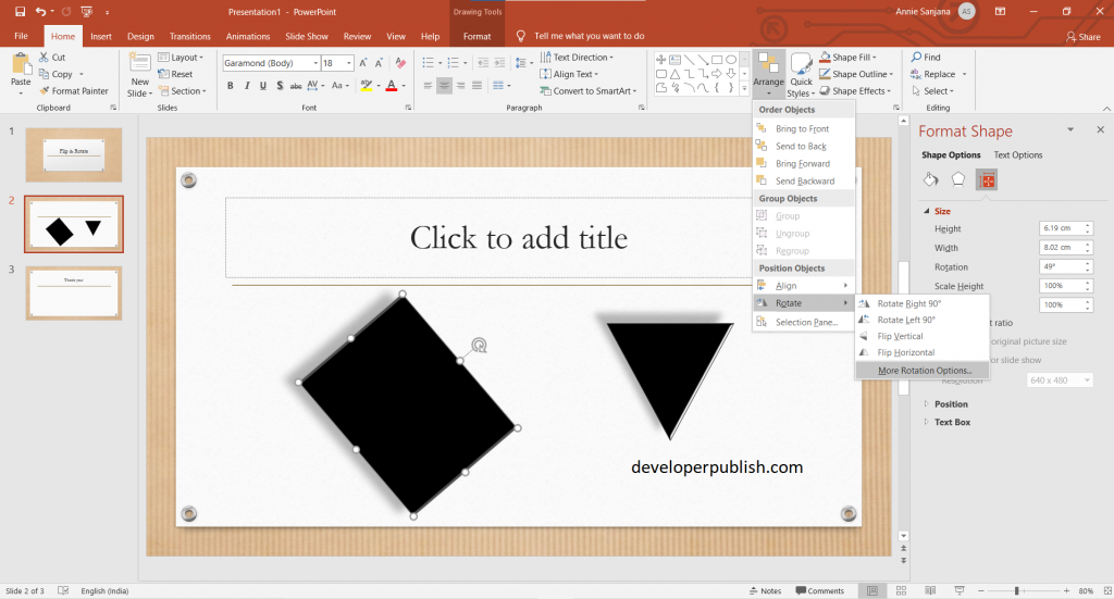 How to Rotate or flip an object in PowerPoint ?