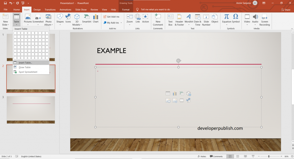 Create and format a Table in PowerPoint
