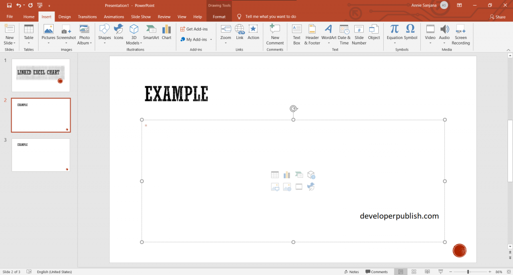 Insert a linked Excel chart in PowerPoint