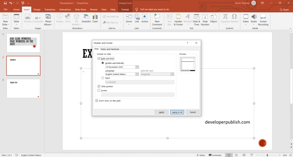How to add slide numbers, page numbers, or the date in PowerPoint?