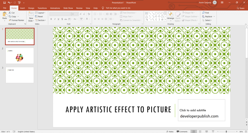 Apply artistic effect to picture in PowerPoint