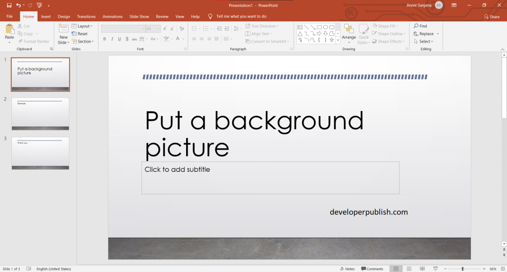 Put a background picture on your slides in PowerPoint