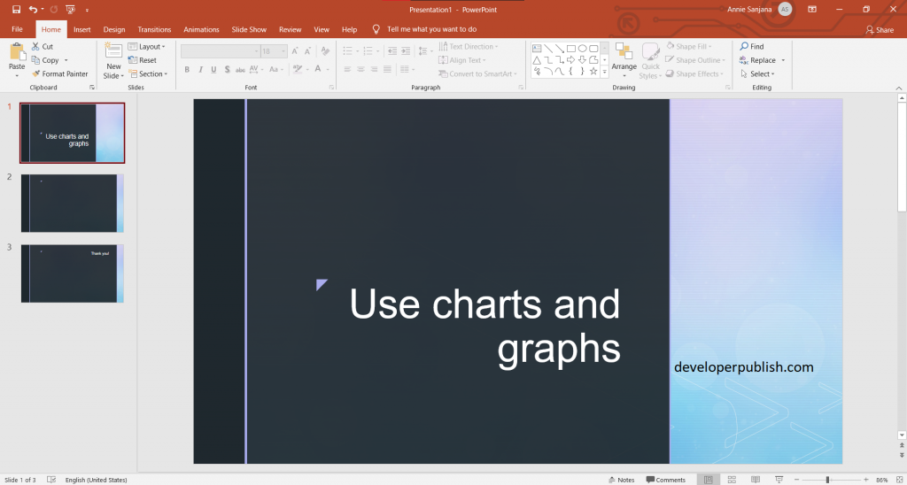 Use charts and graphs in your presentation