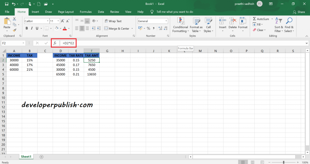 Income Tax Calculator in Excel