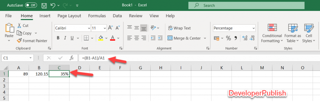 How to Calculate the Percentage of Change between Numbers in Excel?