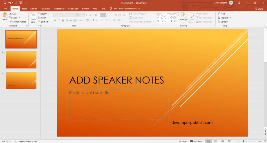 Add speaker notes to your slides in PowerPoint