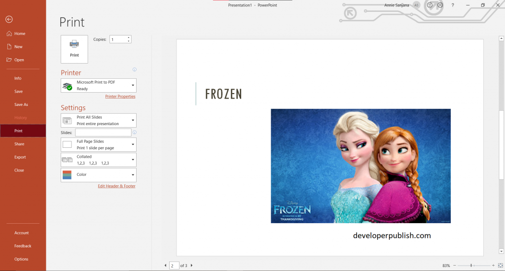 Print your PowerPoint slides, handouts, or notes